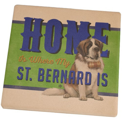 Animal World Home is Where My St. Bernard Is Square Sandstone Coaster