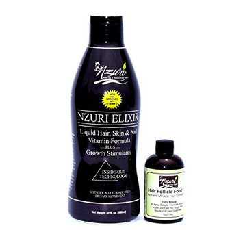 Nzuri Elixir Hair Skin and Nail with Vitamin D - 32 Oz + Nzuri Hair Follicle Food 61- Ancient Miracle Hair Growth Oil 4oz Vitamins to Make Hair Grow Long Intense Grow Long Hair Supplements Combo pack