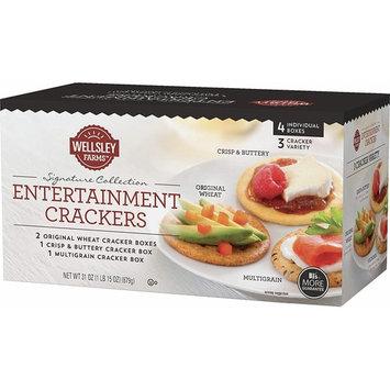Wellsley Farms Entertainment Crackers 4 Box Variety Pack (1lb 15 oz) 2 Original Wheat, 1 Crisp & Buttery, 1 Multigrain