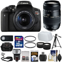 Canon EOS Rebel T6i Wi-Fi Digital SLR Camera & 18-55mm IS STM with 70-300mm Di Lens + Case + 32GB Card + Tripod + Strap + Flash + Tele/Wide Lens Kit