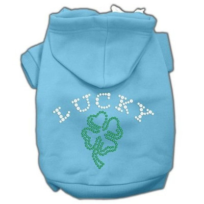 Mirage Pet Products 16-Inch Four Leaf Clover Outline Hoodies, X-Large, Baby Blue