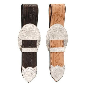 Royal King Billet Strap Buckle Tip and Keeper Bright Cut Edge Acorn