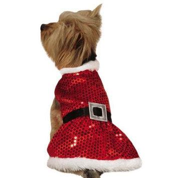 Pet Edge Dealer Services ZandZ Mrs Claus Sequin Dog Dress Xsmall