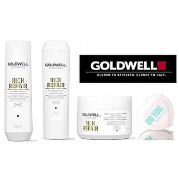 Goldwell Dualsenses Rich Repair Restoring Shampoo, Conditioner, & 60sec Treatment Masque TRIO Set (with Sleek Compact Mirror)