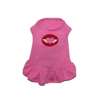 Pink Flying Heart Dog Dress - S (3 - 5 lbs.)