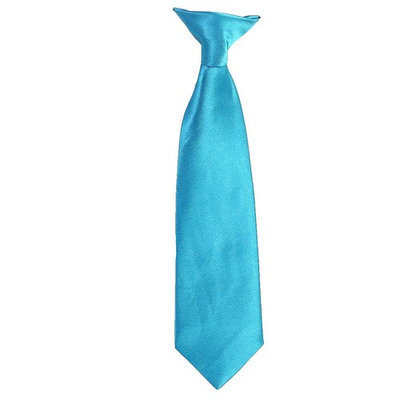 Toddler Little Boys Turquoise Satin Clip On Formal Wear Tie 9in-15in