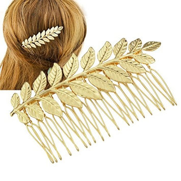 Wedding Hair Comb, Golden Color Leaf Clip Bridal Accessory for Wedding Occasions