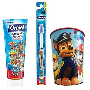 Paw Patrol Kids Toothbrush & Toothpaste Bundle: 3 Items - Orajel Soft Bristle Toothbrush, Orajel Bubble Berry Toothpaste, Character Rinse Cup