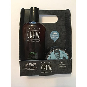American Crew Set, Get the look , 3 in 1 tea tree shampoo 8.4 oz , fiber 3 oz , Free inside the box American Crew Paddle Brush