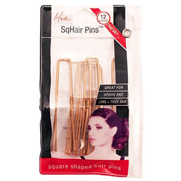 Mia Sqhair Pins-Square Shaped Bobby Pins For The Hair-For Long And/Or Thick Hair-Blonde Color-Each Measures 2.5