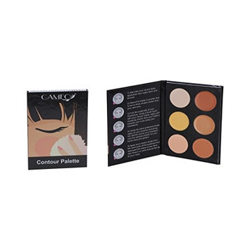 Cameo Cosmetics 6 Shades Contour Kit, Dark Colors, Sleek Makeup Palette For Highlighting and Contouring, Step By Step Instructions Included