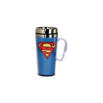 Spoontiques Superman Insulated Blue Travel Mug with Handle