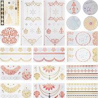 13 Sheets Flash Gold Colorful Metallic Temporary Tattoo Sticker Choker Jewelry Chain Christmas