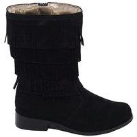 L'Amour Black Faux Suede Fringe Zipper Fashion Boot Girl 11-2
