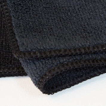 Black Microfiber Facial Cleaning Cloth wholesale 10 pack 12 x 12 - Removes Makeup and Bacteria