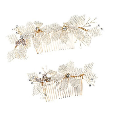 D DOLITY Pack of 2 Bridal Flower Hair Comb Diamante Crystal Wedding Clip Slide Headband Prom