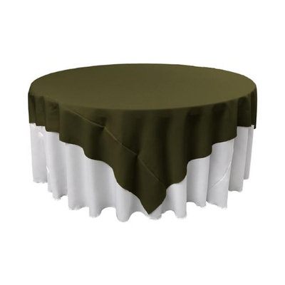 LA Linen TCpop90x90-OliveP21 Polyester Poplin Square Tablecloth Olive - 90 x 90 in.
