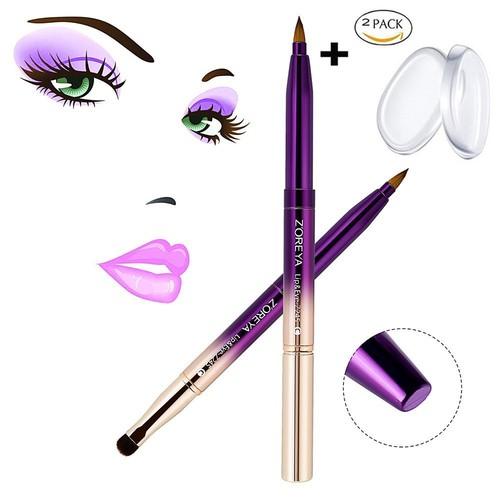 Lip Brush, MYSWEETY Fashion Gradient Color lipstick Brush Retractable with Cap + 2pcs Silicone Makeup Sponge