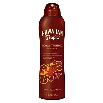 Hawaiian Tropic Royal Tanning Clear Spray, Triple Rich Blend - 6 oz can (2 Pack)