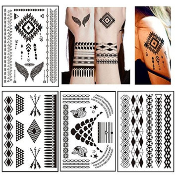 10 Sheets Black Henna Lace Tattoos Temporary - Over 60+ Henna Designs, Black Lace Style Body Art Stickers