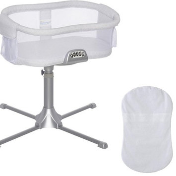 Halo - Swivel Sleeper Bassinet - Premiere Series in River Stone with 100% Cotton Fitted Sheet - White