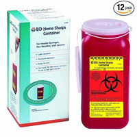 Becton Dickinson Home Sharps Container 1-2/5 qt, for Insulin Syringes, Snap Lock Lid, (Pack of 12)
