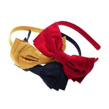 L. Erickson USA 3 Tier Bow Headband 100% Silk Dupioni - Mad Cap