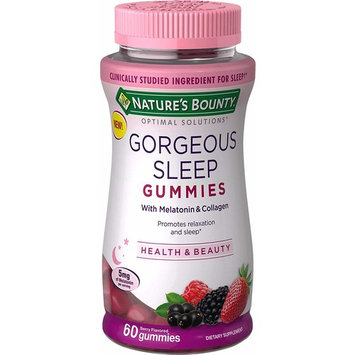 Nature's Bounty Optimal Solutions Gorgeous Sleep Melatonin 5mg Gummies with Collagen, 60 Count, Assorted Fruit Flavors [Gorgeous Sleep]