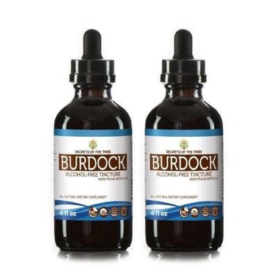 Secrets Of The Tribe Burdock Tincture Alcohol-FREE Extract, Organic Burdock (Arctium Lappa) Dried root 2x4 oz
