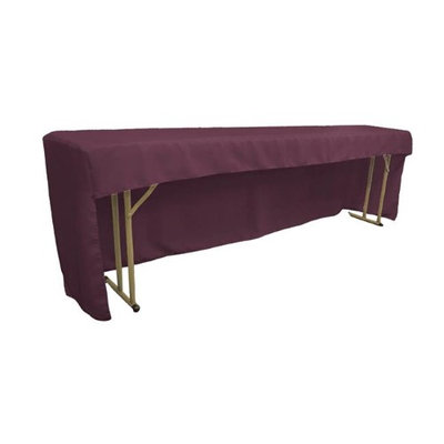 LA Linen TCpop-OB-fit-96x18x30-EggplantP42 Open Back Polyester Poplin Fitted Tablecloth for Classroom Tables Eggplant