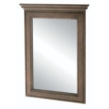 Home Decorators Collection Albright 34 in. L x 25 in. W Framed Vanity Wall Mirror in Winter Gray