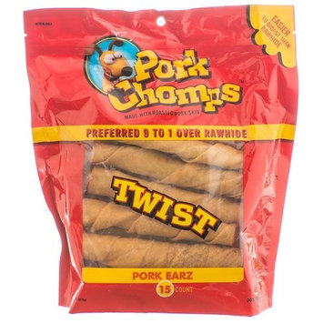 Pork Chomps Twist Pork Skin Dog Treats - Pork Earz