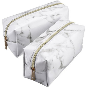 Mtlee 2 Pieces Cosmetic Toiletry Makeup Bag Pouch Gold Zipper Storage Bag Marble Pattern Portable Makeup Brushes Bag