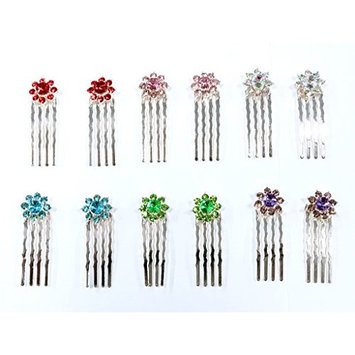 12 Pieces With 6 Different Color Rhinestone With Silver Color Metal Mini Comb C-11