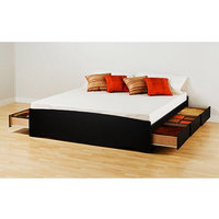 Prepac Brisbane King Platform Storage Bed, Black