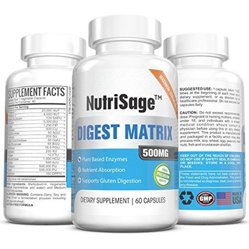 Super Digestive Enzyme Supplement - 500mg - Powerful Plant Based Enzymes – Supports Gastrointestinal Tract Health & Nutrient Absorption – Relieves Bloating – Made In USA - 60 Capsules