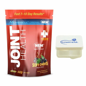Redd Remedies Joint Health Soft Chews for Joint Comfort and Flexibility - Black Cherry 30 ct Bundle with a Lumintrail Pill Case