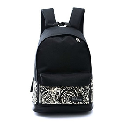 Moolecole College Style Casual Girl Student Backpack Canvas Rucksack Travel School Shoulder Bag Daypack Cartoon