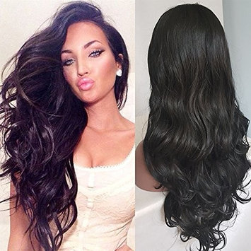 Oxeely Synthetic Lace Front Wigs Glueless Synthetic Heat Resistant Free Part Wig 24 Inches Lace Front black Color Wavy Wig For Women