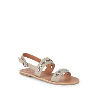 Ally 2 Band Hammered Stud Leather Sandals