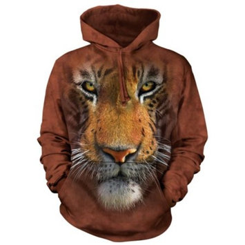 Rust Cotton Tiger Face Awesome Animal Hoodie Cool