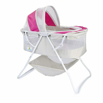 Big Oshi Emma Newborn Baby Bassinet - Portable Bassinet for Boys or Girls - Perfect for Bedside, Indoors, or Outdoors - Lightweight for Travel - Canopy Netting Cover - Wood Bed Base, Pink/Grey [Portable Bassinet]