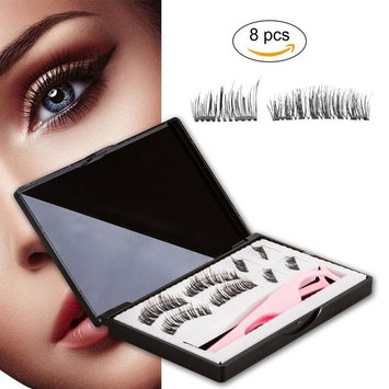 Magnetic Eyelashes, 8 Pcs One Two Cosmetics 3D Reusable Cuttable Full Size and Half Size False Eyelashes Set with Applicator for Natural Look