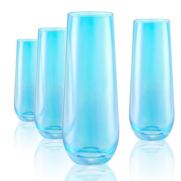9 Oz. Turquoise Stemless Flute S/4
