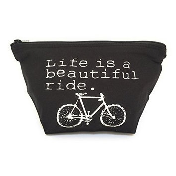 Life is a Beautiful Ride Bicycle Big Makeup Bag for Travel Cosmetic Toiletries