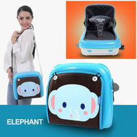 GrowRight Portable Multifunctional Baby Infant Travel Booster Seat & Diaper Bag / Plastic Storage Case - (Blue Elephant, up to 44 Pounds)