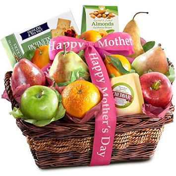 Golden State Fruit Happy Mothers Day Fruit Basket with Cheese and Nuts [Mother's Day]
