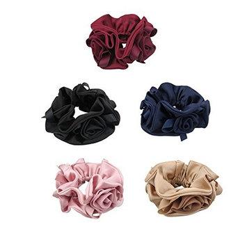 5PCS Satin Hair Scrunchies Elastic Hair Bands Ties Hair Ponytail Holder Hair Accessories For Women