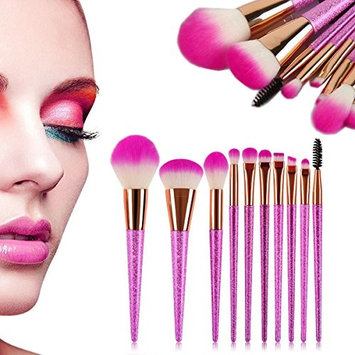 Makeup Brushes,10 pcs Makeup Brush Set Synthetic Bristle Kabuki Cosmetic Brush Set Foundation Powder Eyebrow Concealer Beauty Cosmetic Brushes Kit with sparkly Handle By Beshiny - 10pcs (Hot Pink)