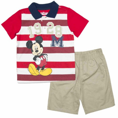 Disney Mickey Mouse Infant & Toddler Boys Striped Polo Shirt & Shorts Set 12m